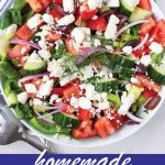 pin image design for homemade Greek salad