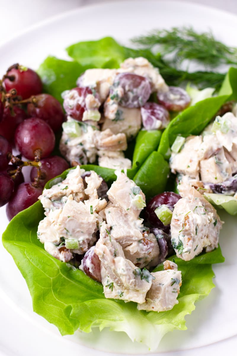 Chicken grape salad on lettuce cups