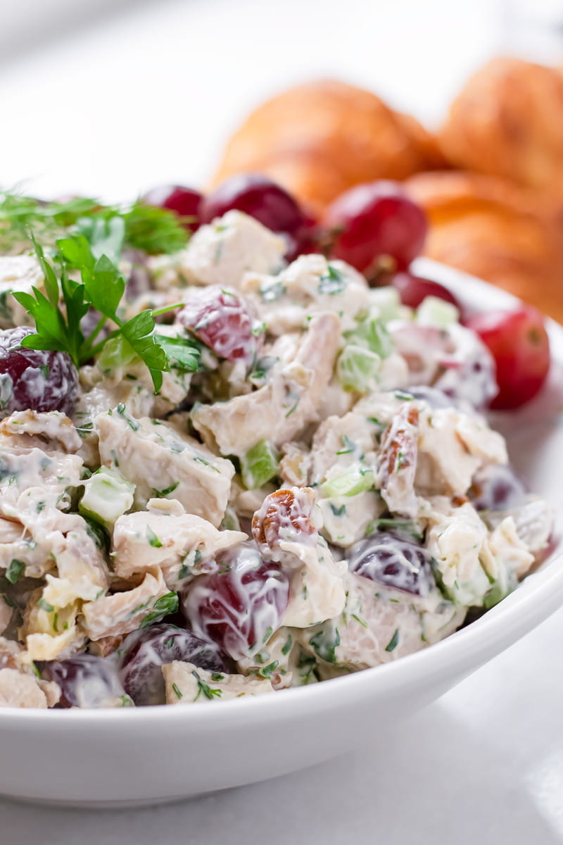 Bowl with grapes, celery, and pecan chicken salad
