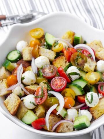 White bowl with homemade panzanella salad