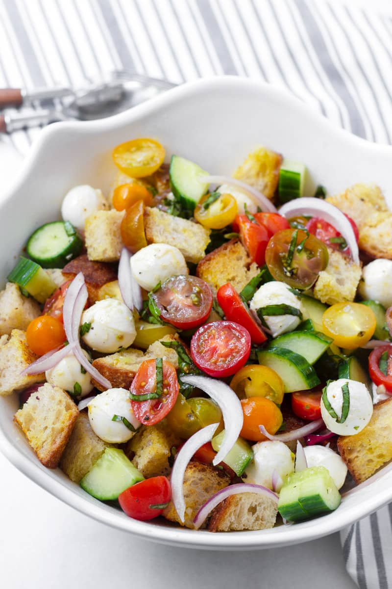 White bowl with homemade panzanella salad