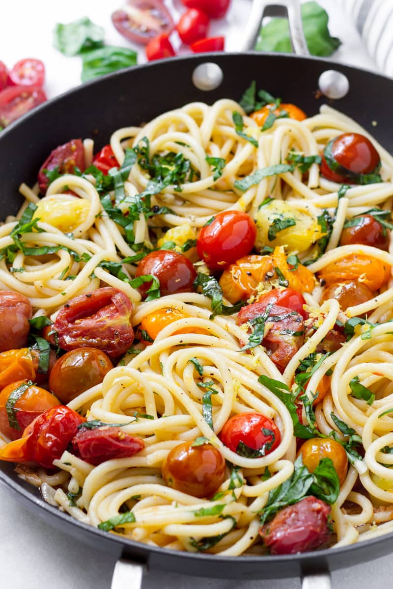One pan bucatini with blistered fresh tomatoes and basil