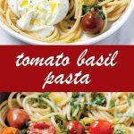 pin image design for tomato basil pasta recipe
