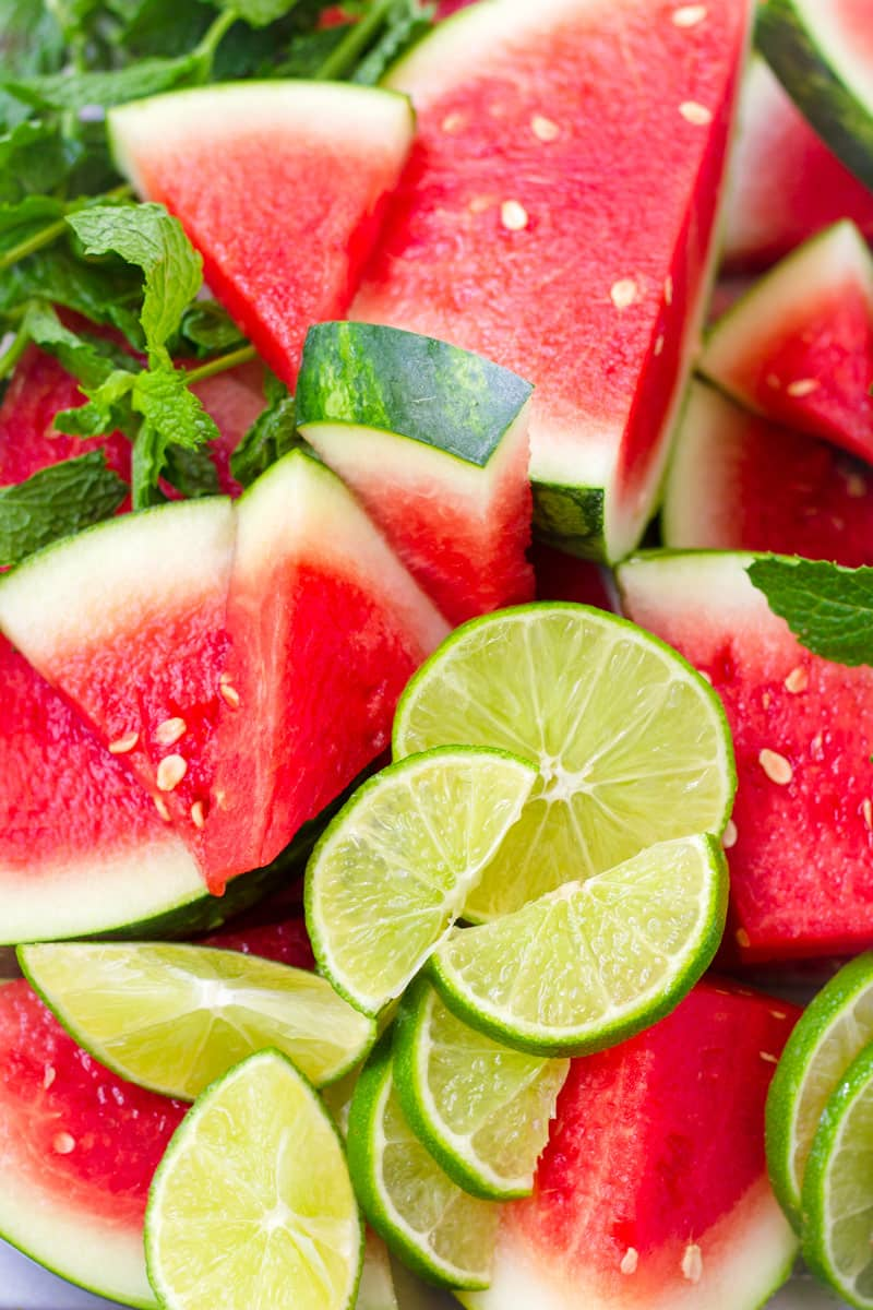 Sliced watermelons and sliced limes