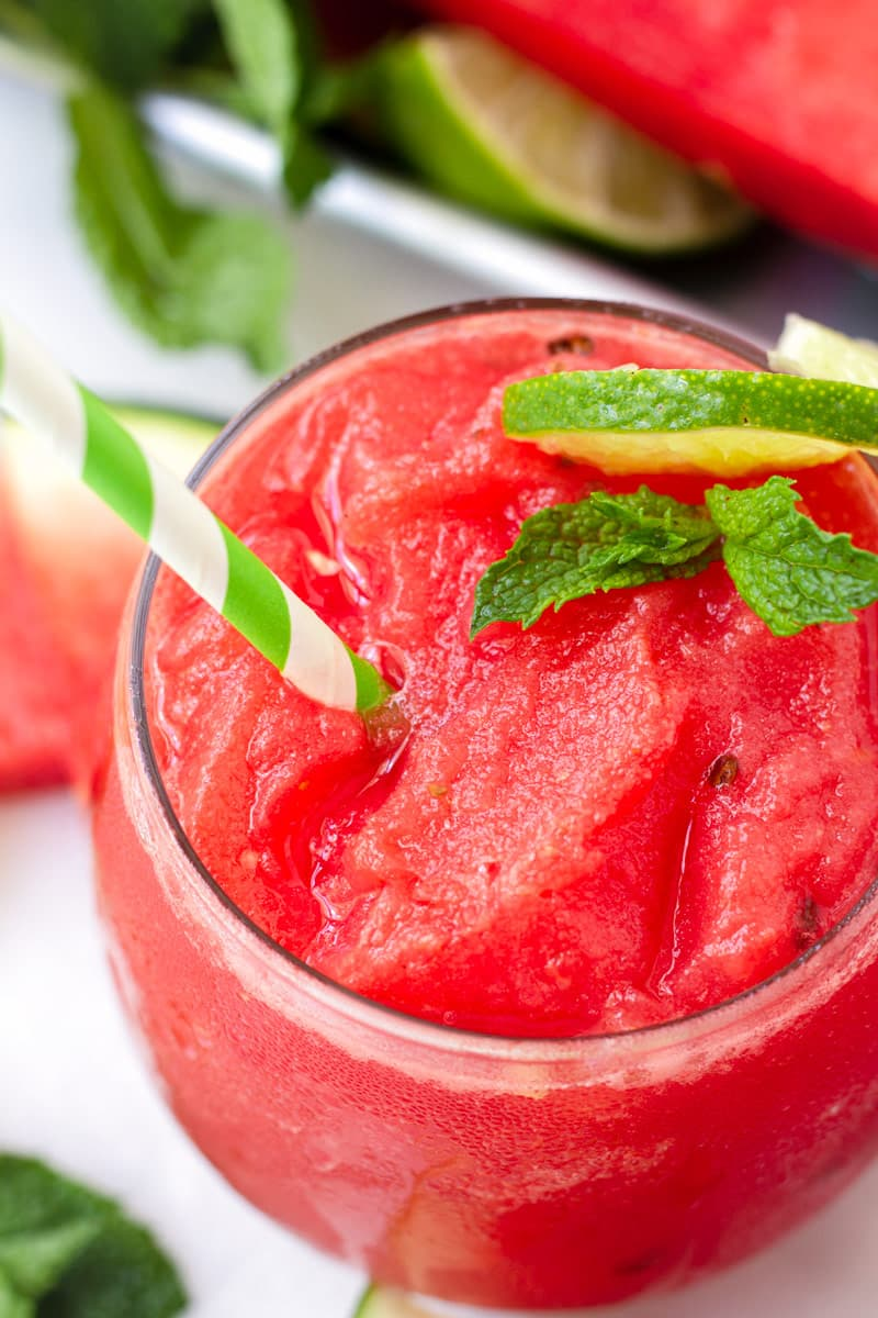 Close up of iced watermelon cooler