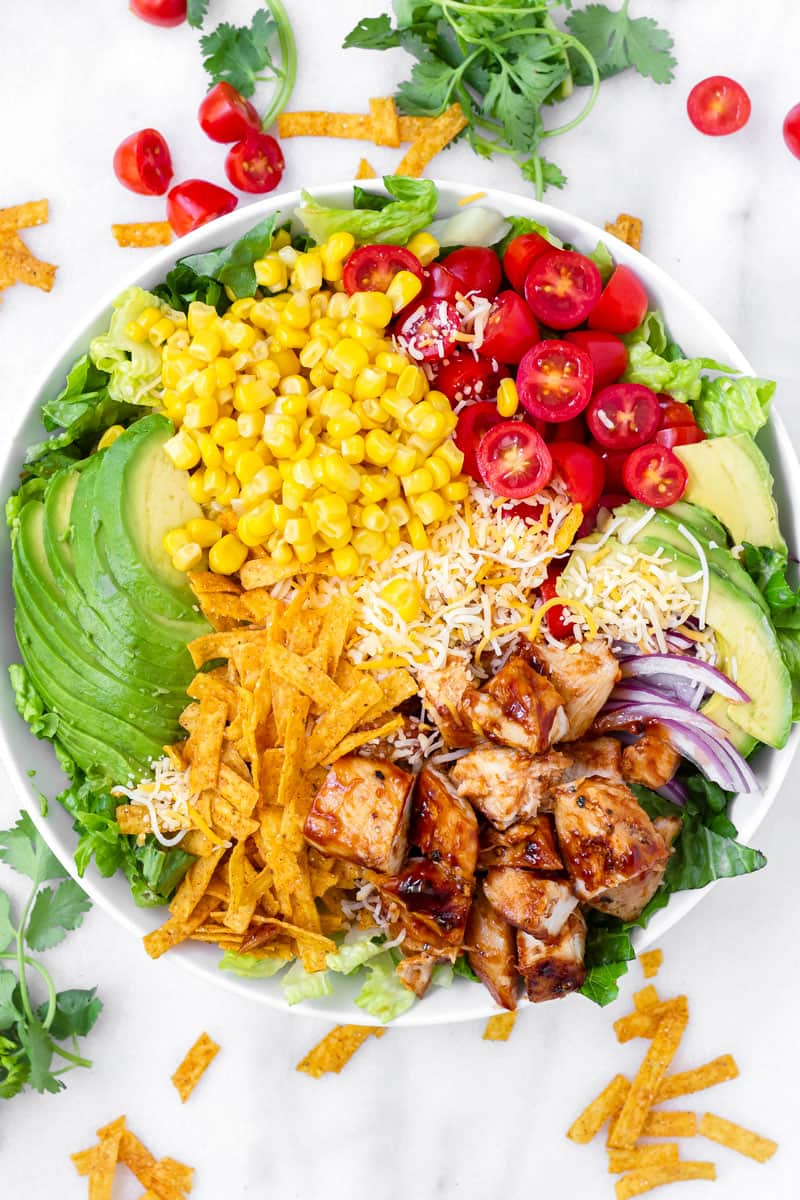 top view of arranged BBQ grilled chicken salad
