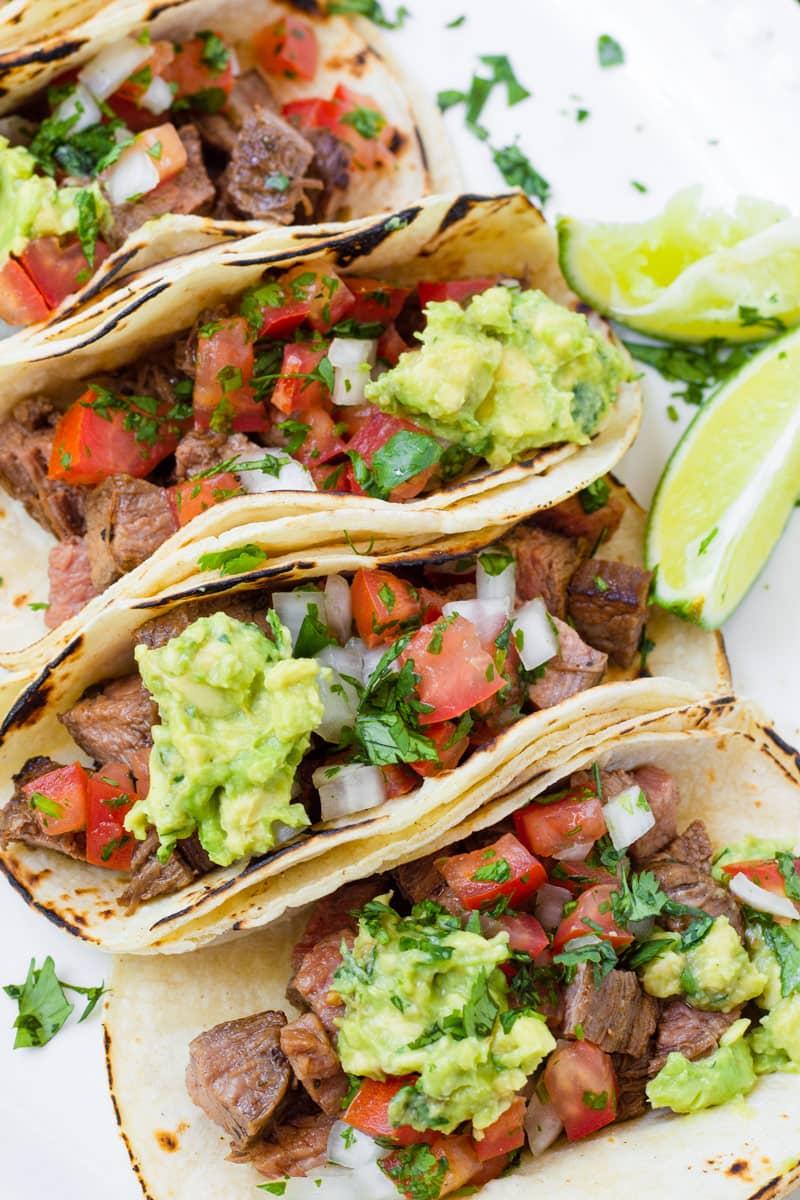 Built Carne Asada Tacos with Lime Slices