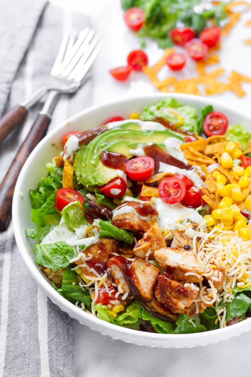 Southwest Grilled Chicken Salad with Barbecue Sauce