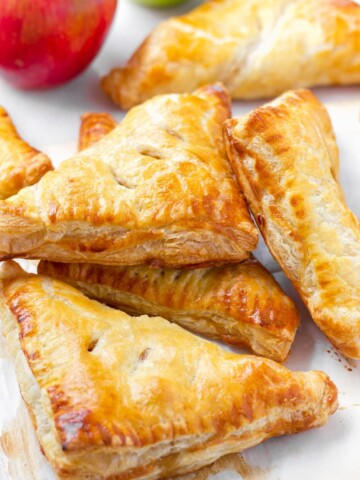 Stacked baked apple turnovers