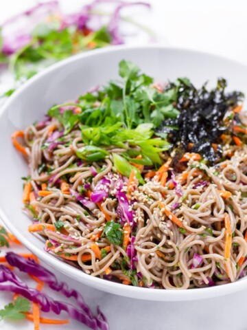 Soba noodle salad with carrots and cilantro