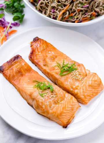 Two filets of Japanese style marinated salmon served on a white plate