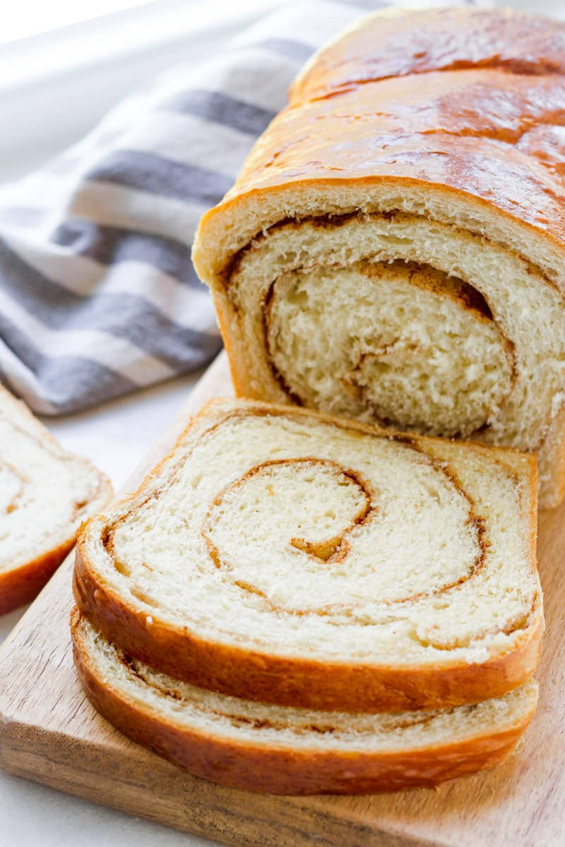 Sliced loaf of cinnamon country bread