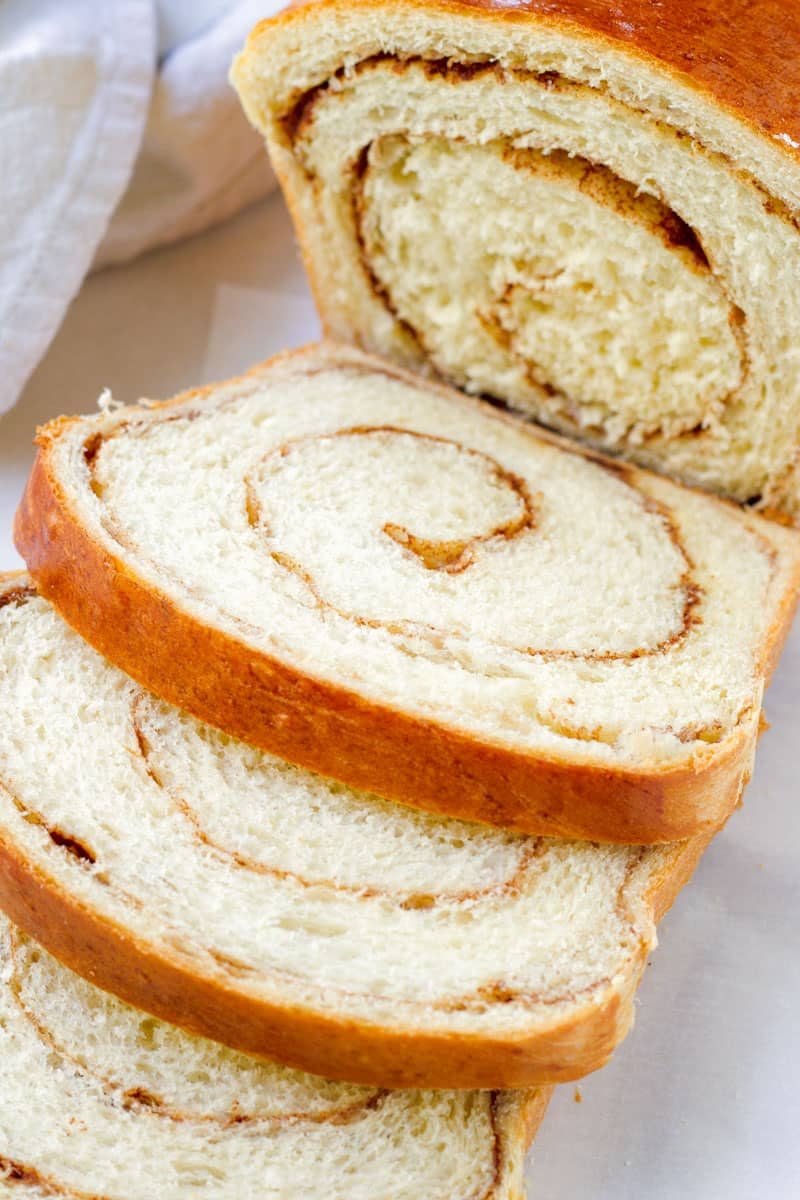 close up of sliced cinnamon swirl bread