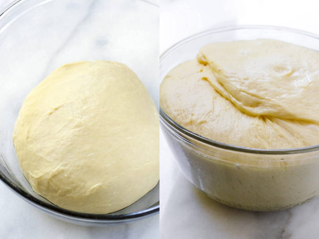 yeast dough doubled in size, before and after