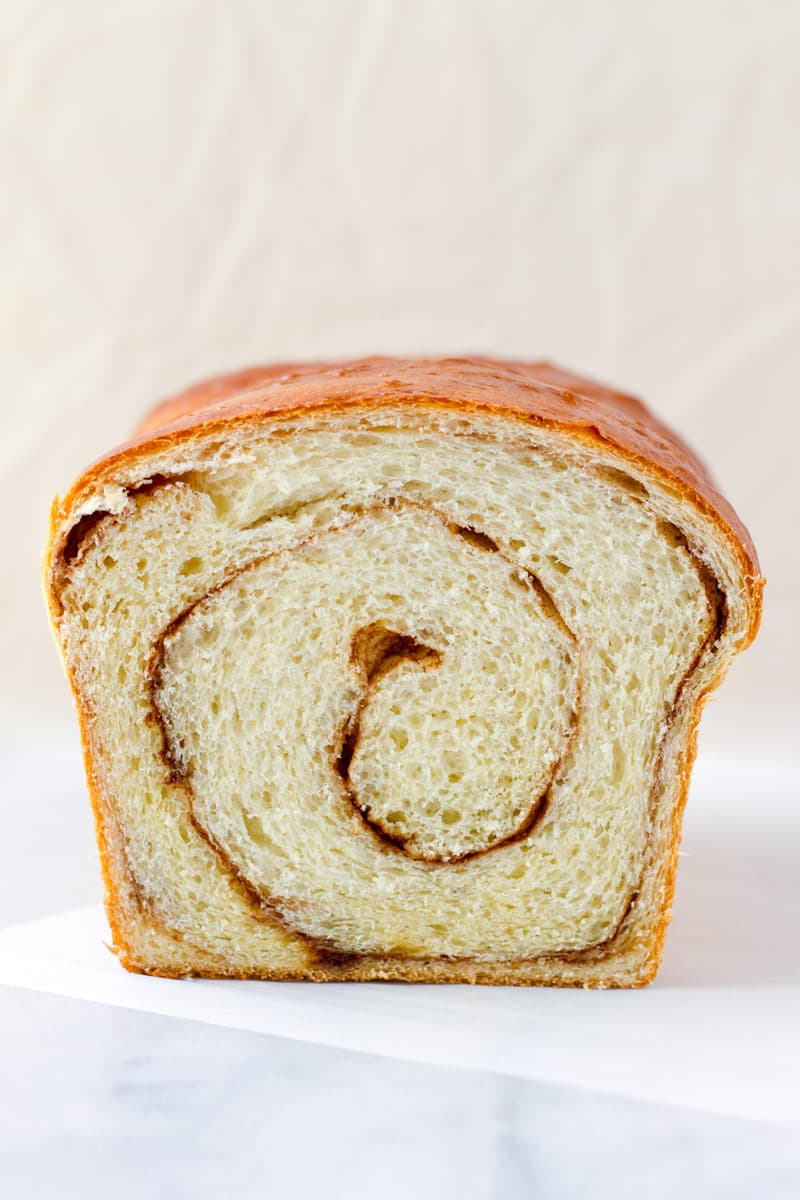 straight view of a cinnamon swirl bread