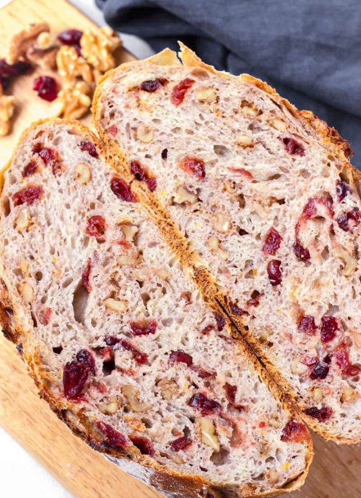 inside view of baked dried cranberry and nut bread