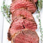 sliced medallions of beef tenderloin cooked on medium