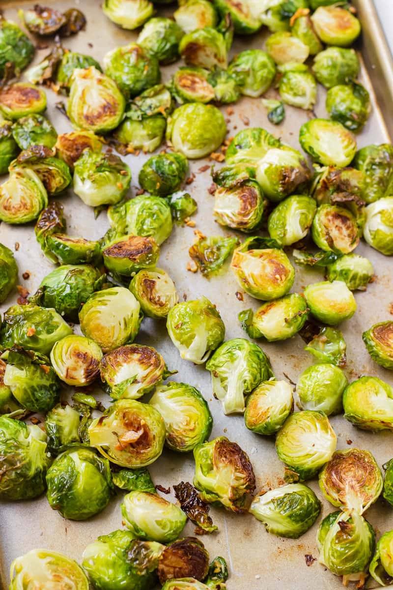 sheet pan with roasted brussels sprouts