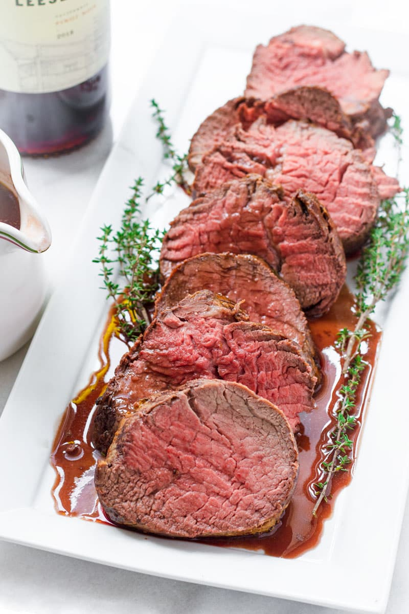 roast beef loin cooked to medium and served with red wine sauce