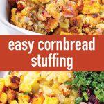 pin image of cornbread stuffing recipe