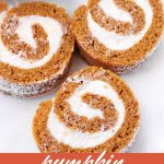 pin image design for pumpkin cake roll