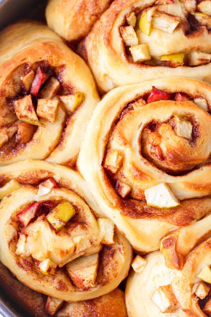 close up of baked apple cinnamon buns