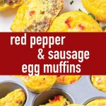 pin image design for red pepper and sausage egg muffins