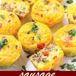 pin image design for Sausage and Red Pepper Egg Muffins