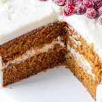 the inside of a ginger and molasses spices cake covered with frosting