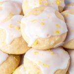 close up of glazed lemon ricotta cookies