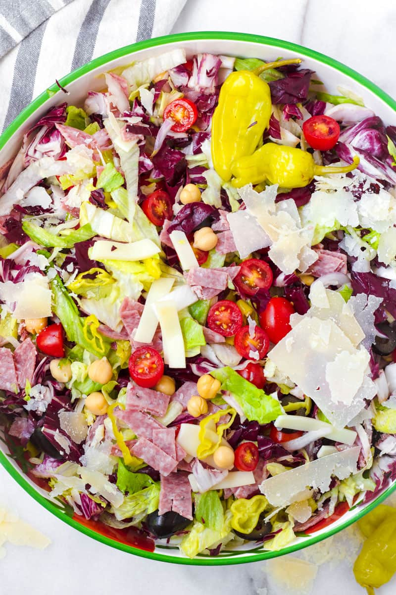 tossed Italian antipasto salad in a large bowl