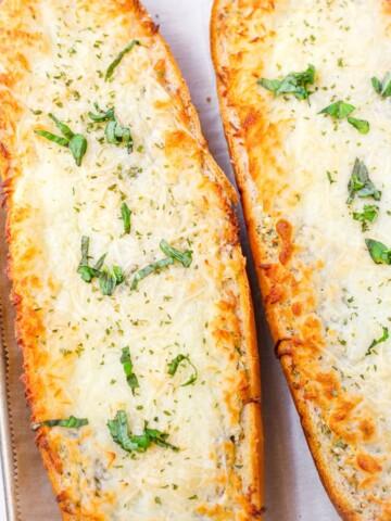 golden brown and melty garlic bread with mozzarella cheese