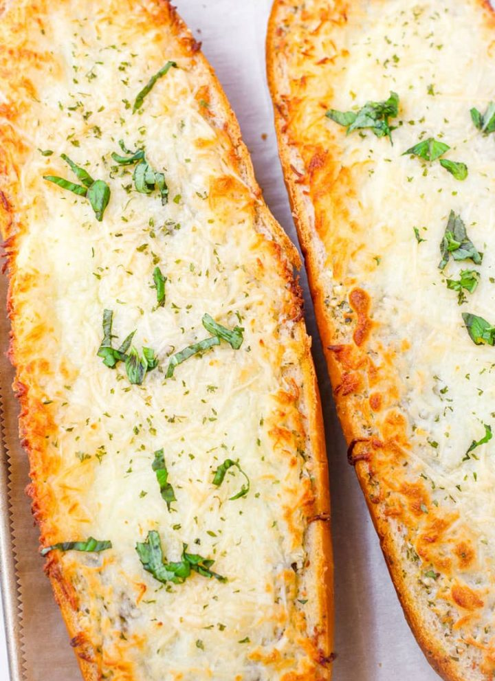 golden brown and melty garlic bread with mozzarella cheese