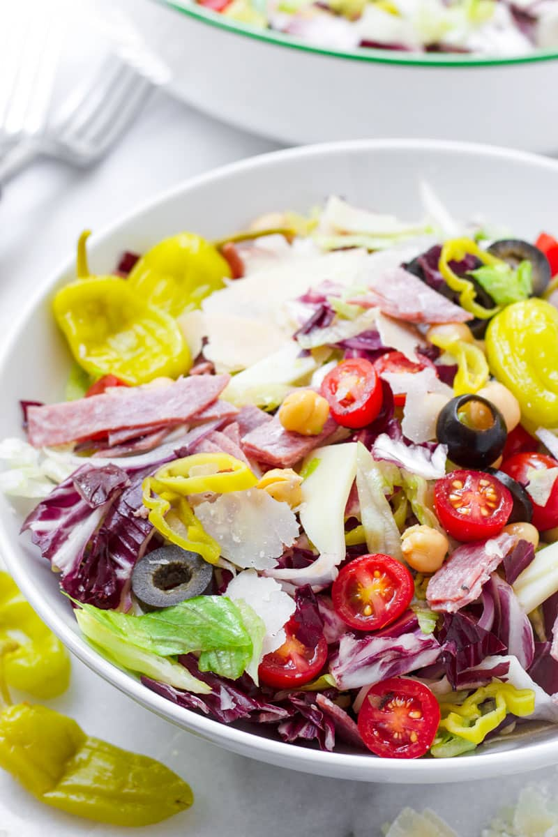 Italian chopped antipasto salad served in a round bowl