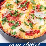 pin image design for skillet lasagna recipe