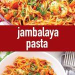 pin image design for jambalaya pasta recipe
