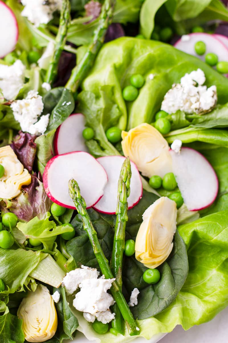 close up view of butter lettuce, radishes, asparagus, and artichokes salad