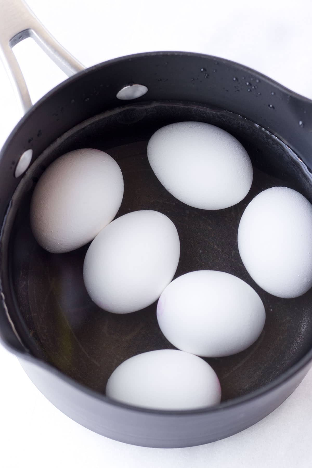 hard boiled eggs in a pot