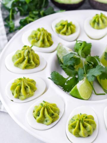 egg whites filled with avocado and egg yolk filling