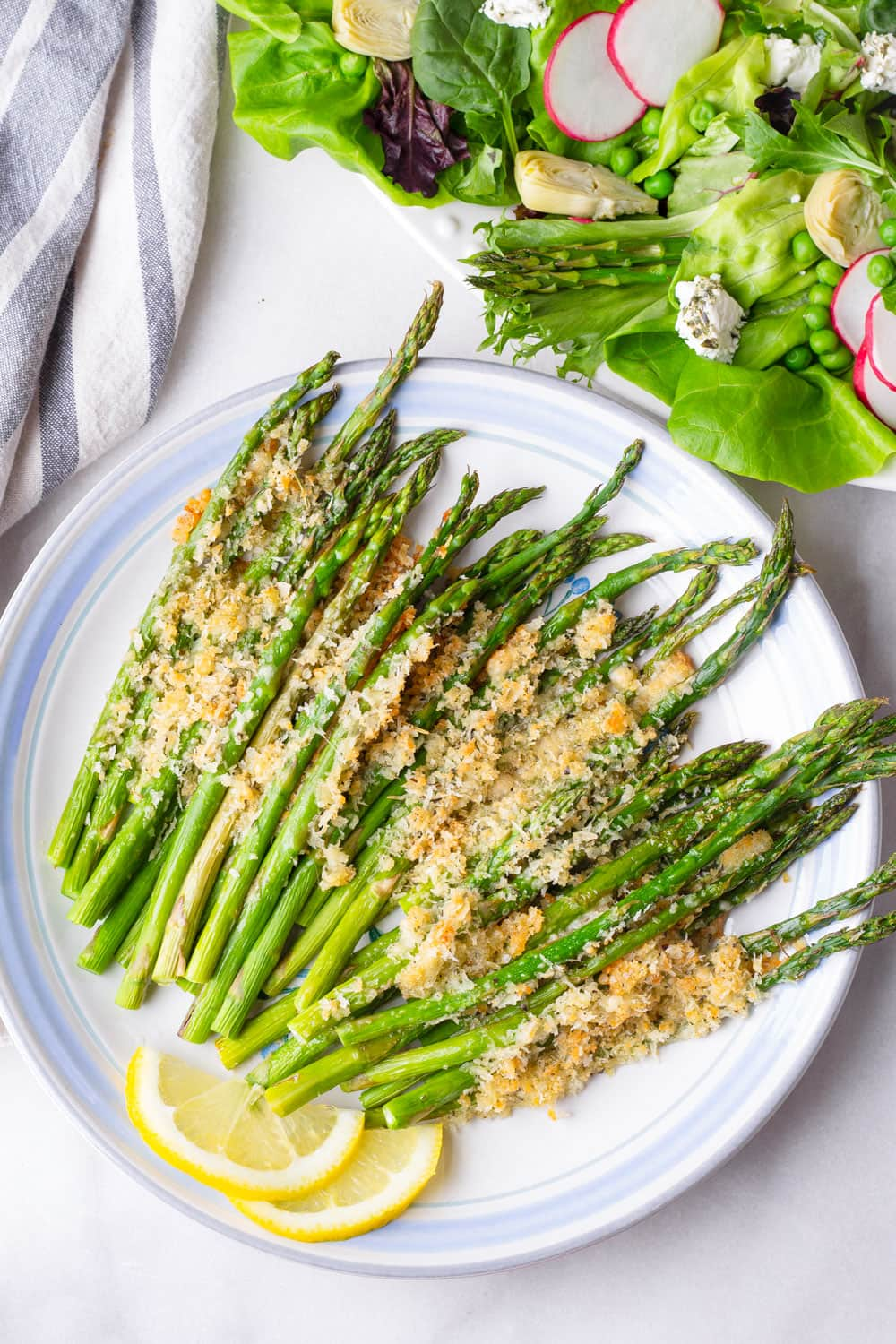 top view of asparagus with breadcrumbs and parmesan topping