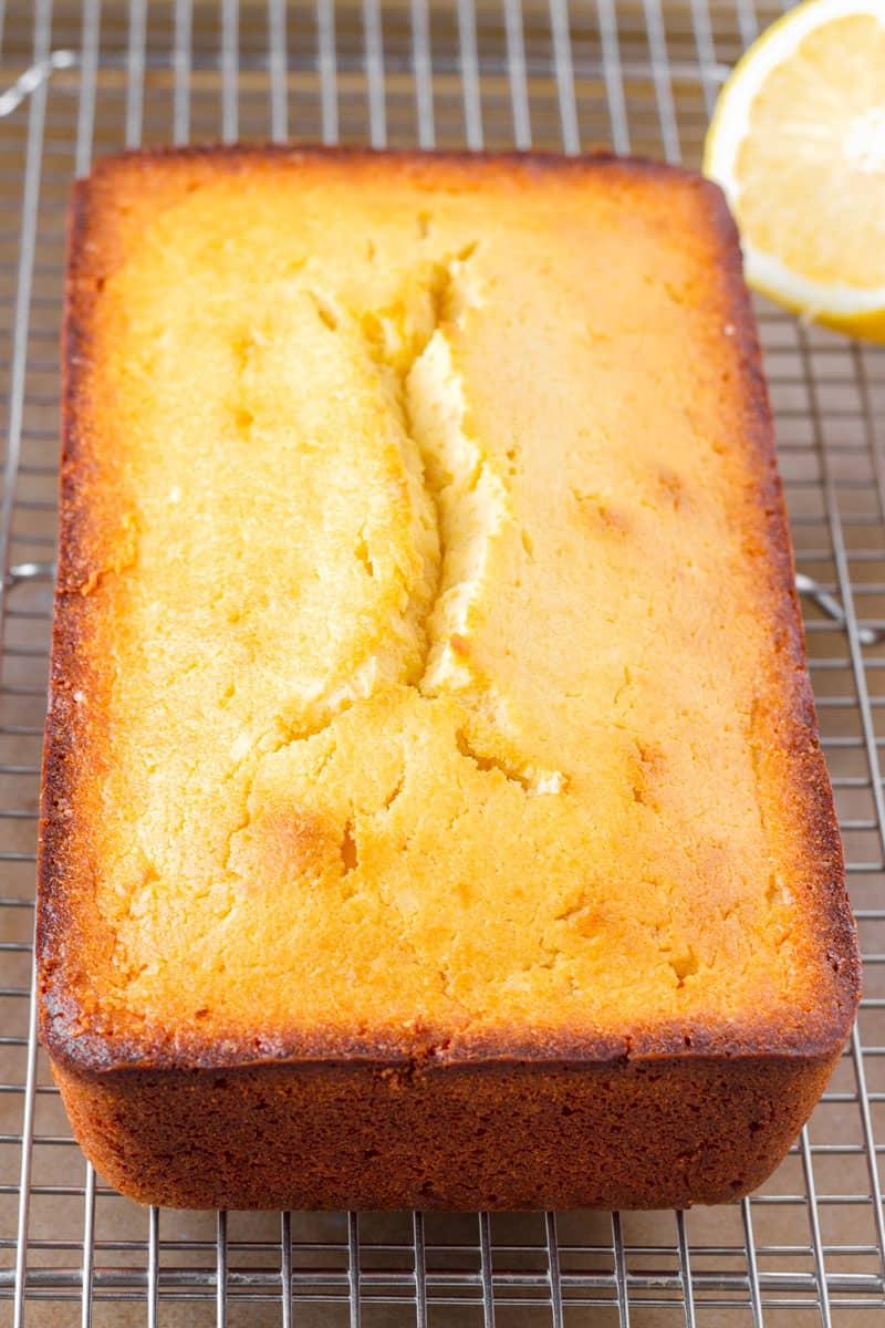 freshly baked lemon loaf cake on a wire rack