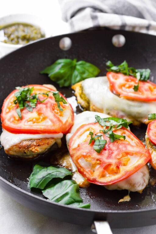 one pan chicken margherita with cheese, tomato, and basil