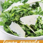 pin image design for lemon arugula salad recipe