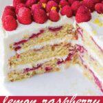 pin image design for lemon raspberry cake