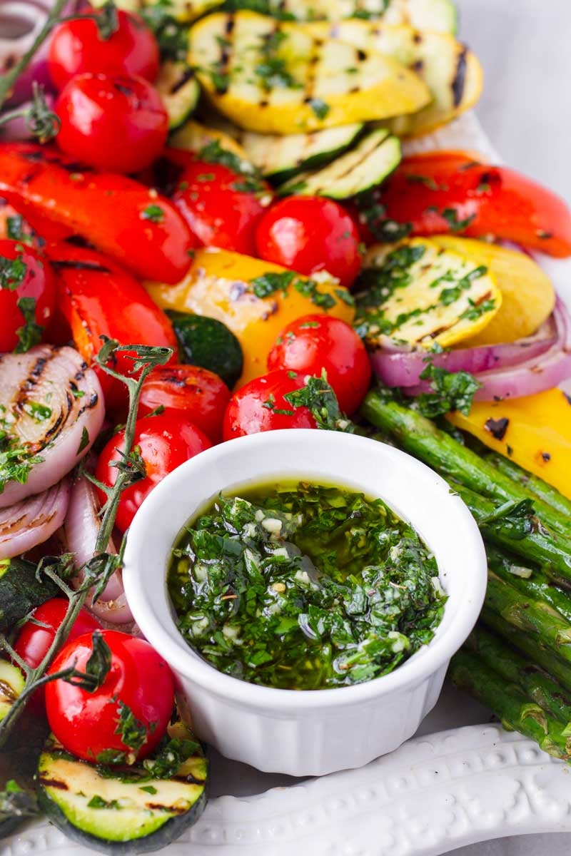 side of parsley herb sauce for grilled vegetables