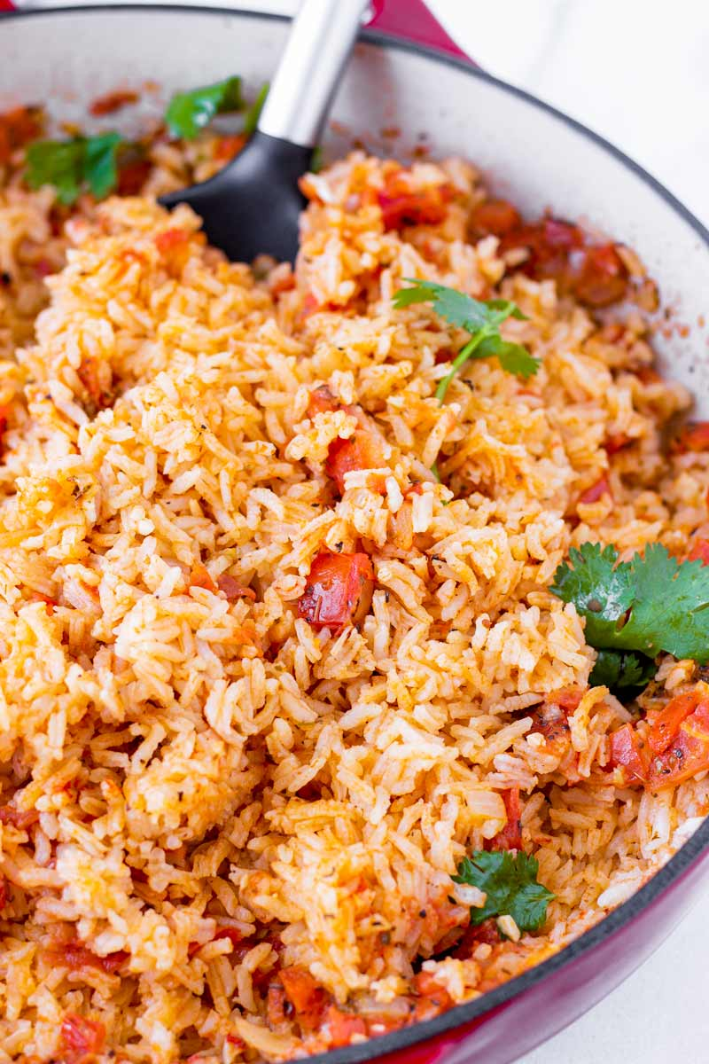 restaurant style mexican rice made with tomatoes and spices