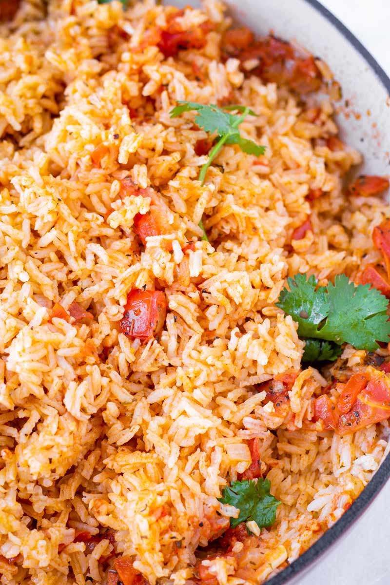 close up of Mexican rice made with fresh tomatoes and spices