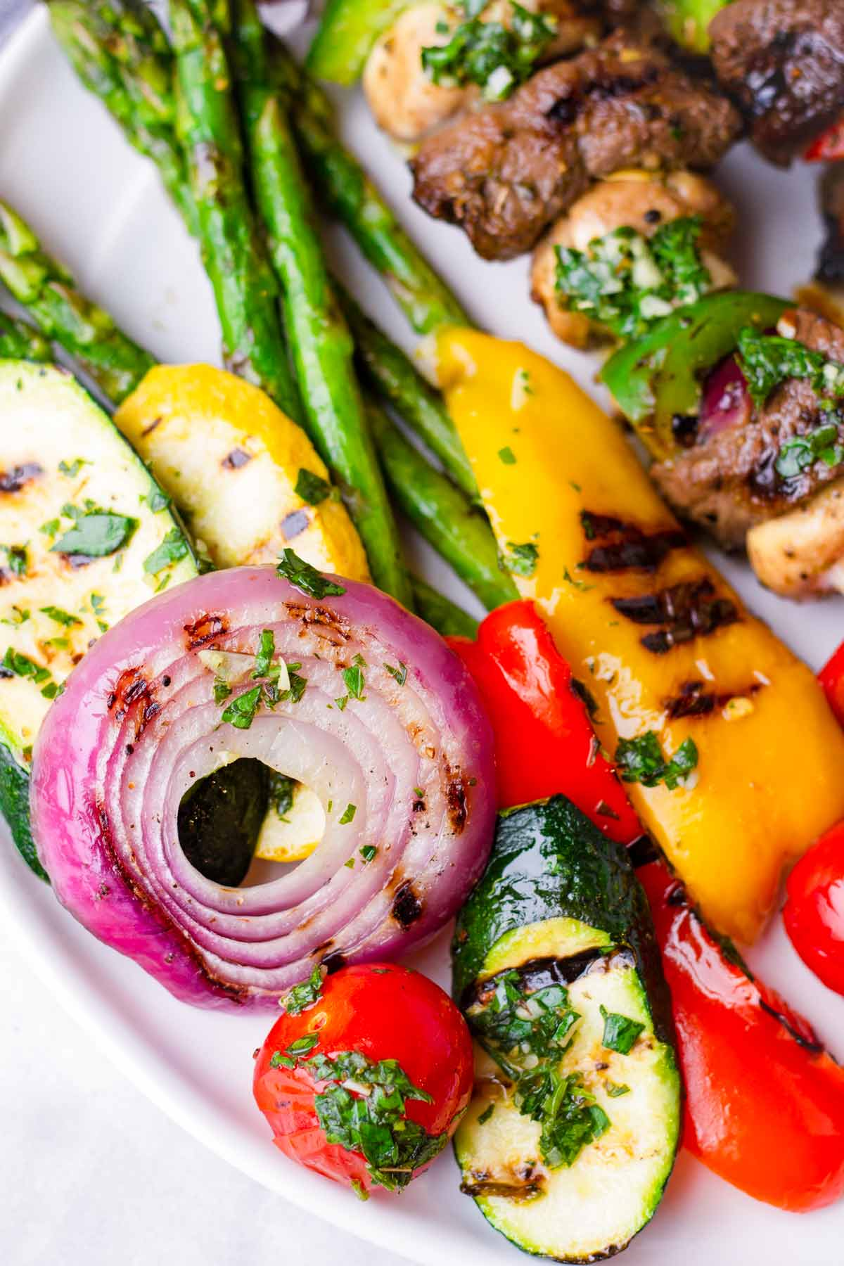 grilled onion, zucchini, tomatoes, asparagus, and peppers