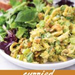 pin image design for curried chicken salad recipe