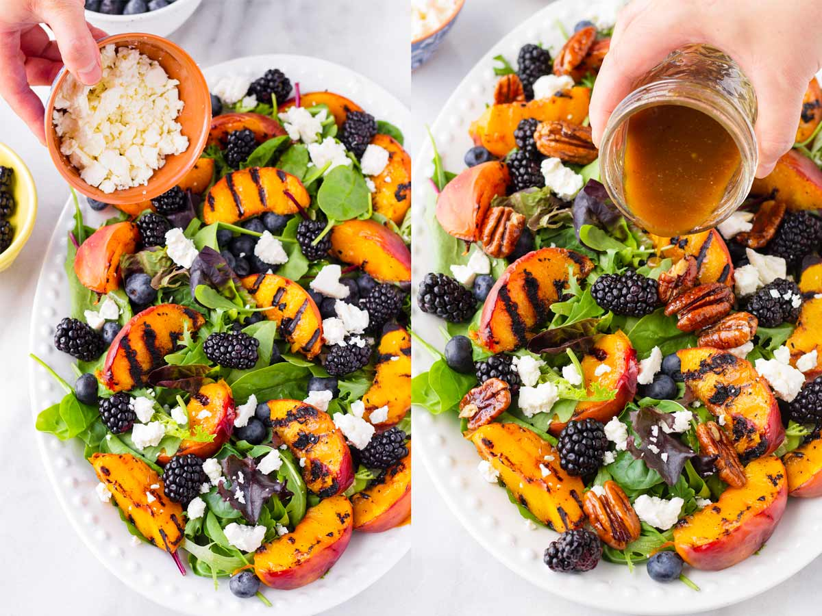 two photos side by side adding feta and balsamic dressing into salad